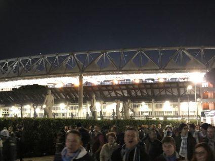 Lazio fans outside Stadio Olimpico Rome Italy
