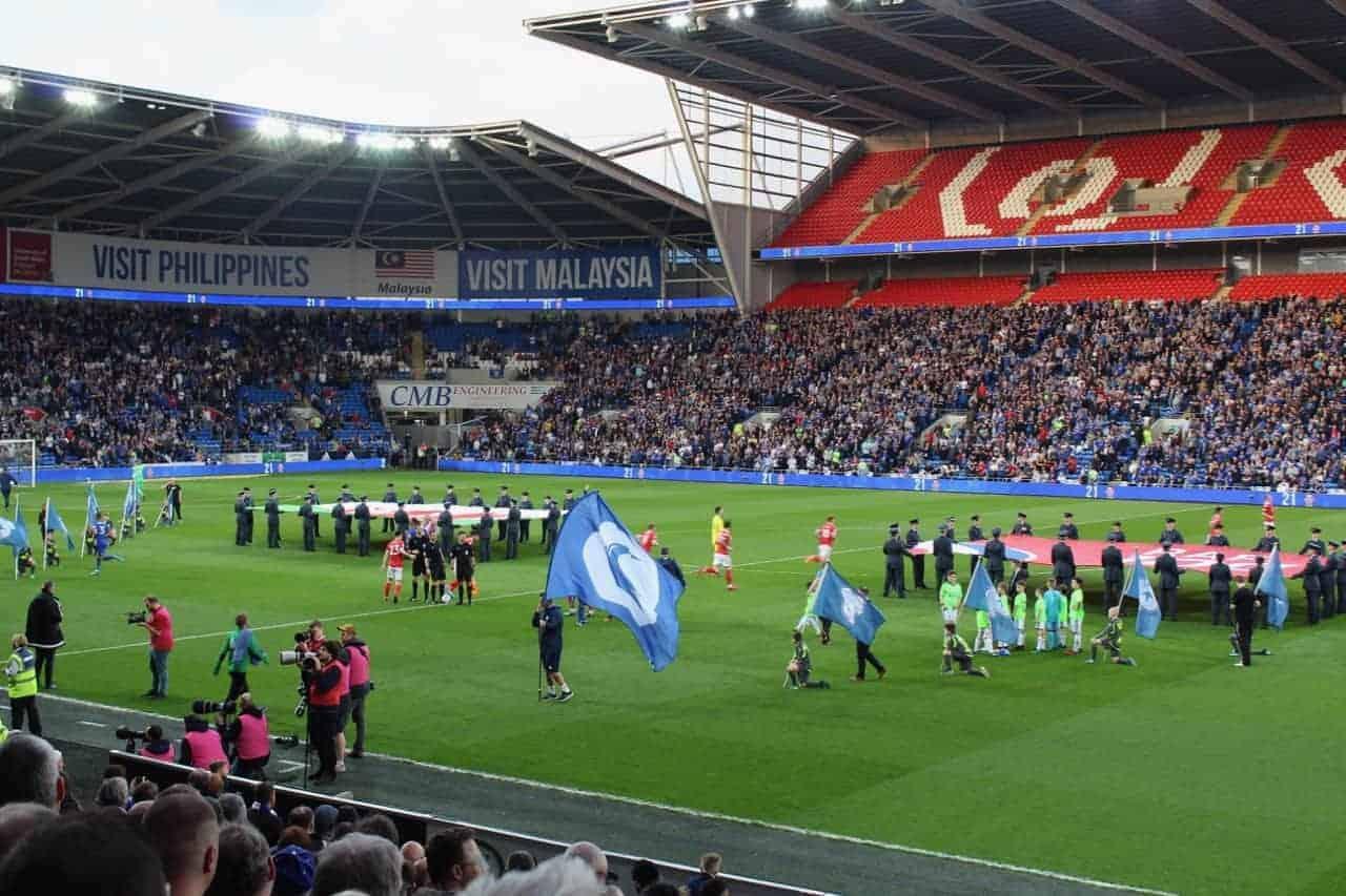 pregame at Cardiff City stadium