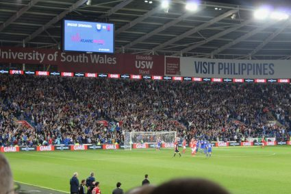 looking at the goal from longside seats at Cardiff City Stadium
