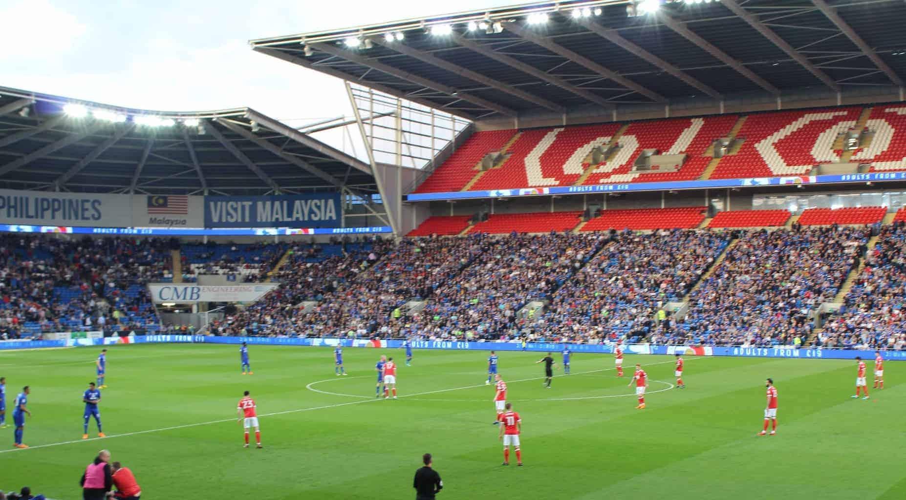 Kickoff of a football game at Cardiff City