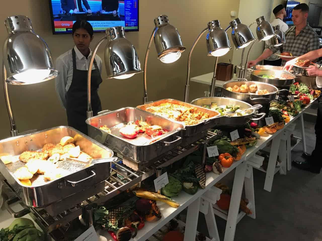 Premier League hospitality lounge buffet food
