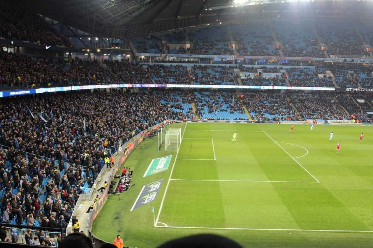 view of etihad stadium from manchester city hospitality seats