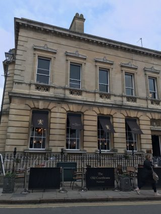 Exterior of the Old Courthouse Pub in Cheltenham.