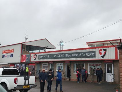 Ticket office and turnstiles at Whaddon Road, home of Cheltenham Town FC