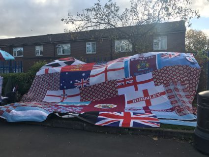 A large quilt at Turf Moor, home of Burnley Football Club