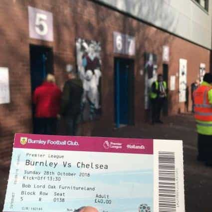 A ticket to a football game at Turf Moor, home of Burnley Football Club