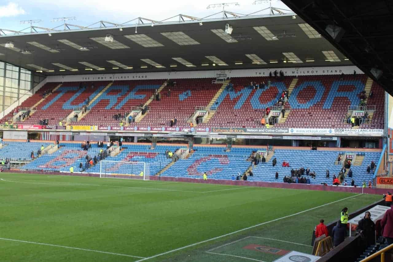 Empty stand at Turf Moor, home of Burnley Football Club