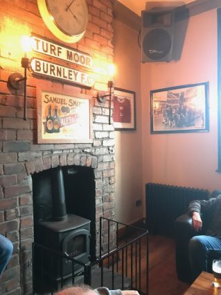 A wood stove at a pub in Burnley, Lancashire