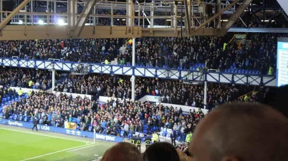 Everton Goodison Park view of away fans in stadium