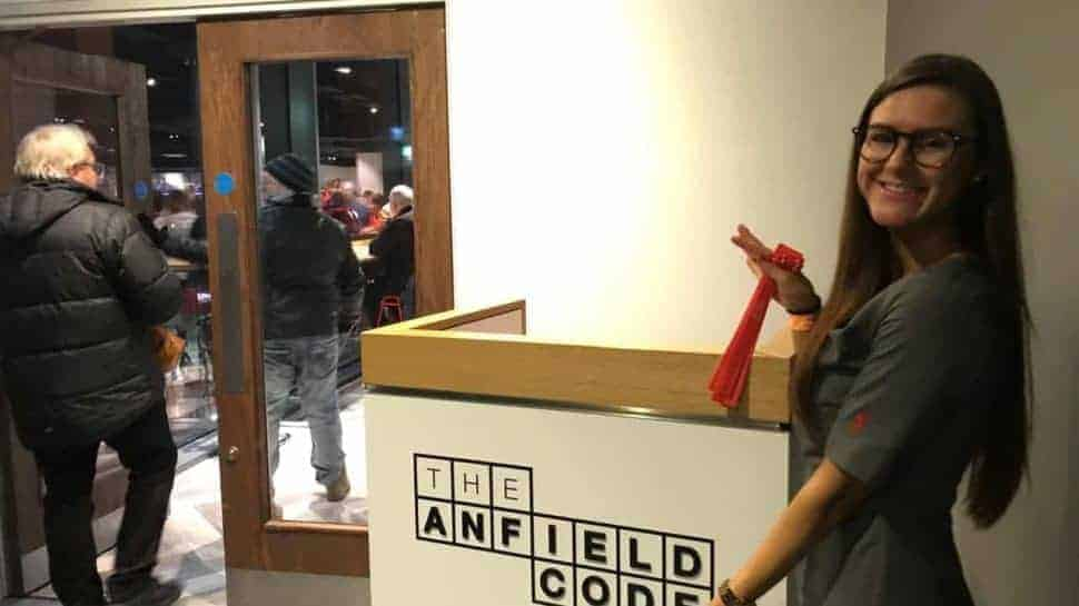 Liverpool Anfield Lounge entrance female attendant