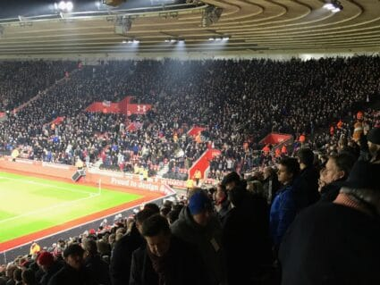 west ham away fans viewed from southampton hospitality seats