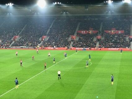 view of Southampton kickoff from Saints Bar hospitality seats