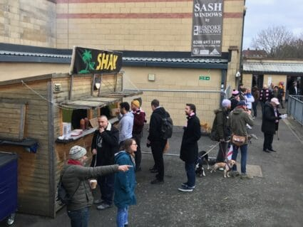 Jerk chicken stand at Champion Hill, the home of Dulwich Hamlet FC in South London.