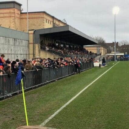 Supporters in the Main Stand at Champion Hill, the home of Dulwich Hamlet FC in South London.