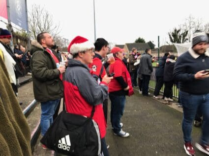 Eastbourne Borough fans at Champion Hill, the home of Dulwich Hamlet FC in South London.