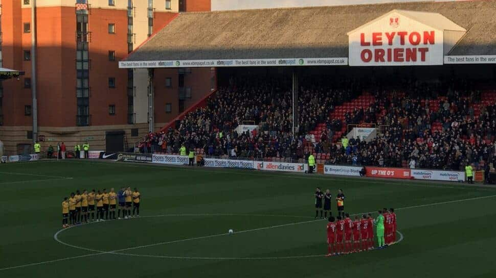 Teams on the field before a game at Leyton Orient