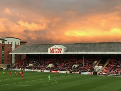 Sunset over a stand at Brisbane Road, home of Leyton Orient FC.