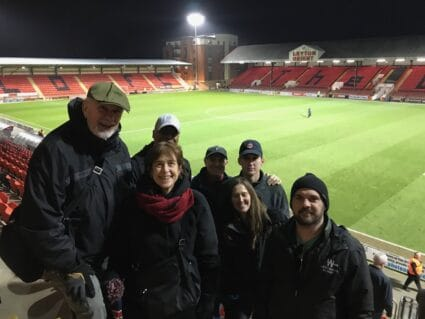 Groundhop soccer tour group at Brisbane Road, home of Leyton Orient FC.