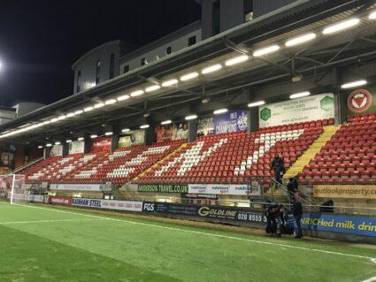 Seats behind a goal at Leyton Orient FC