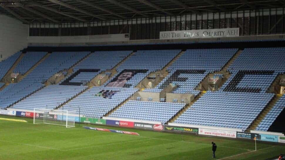 empty stands at Ricoh Arena Coventry