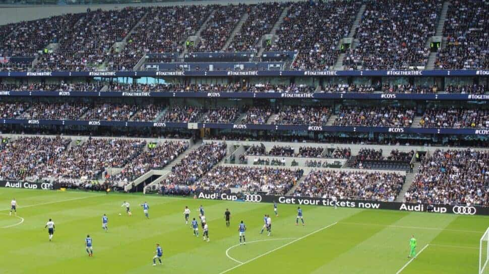 view of Tottenham Hotspur players on field from hospitality seats