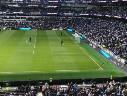 View of a soccer game at Tottenham Hotspur Stadium.