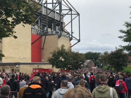 crowd approaching east stand charlton athletic