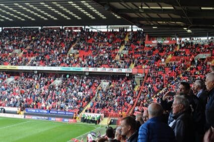 fans in seats at covered end the valley charlton
