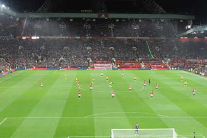 Behind the goal at Manchester United's Old Trafford
