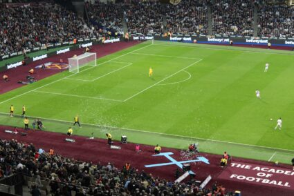 fans Blowing bubbles at London Stadium