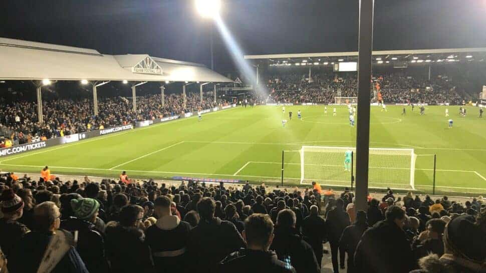 Night game at fulham Craven Cottage football ground in London