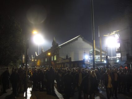 crowds in street outside Craven Cottage