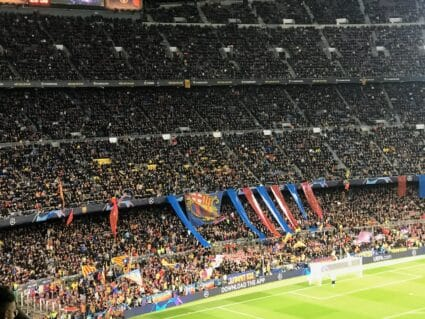 FC Barcelona fans cheering their team