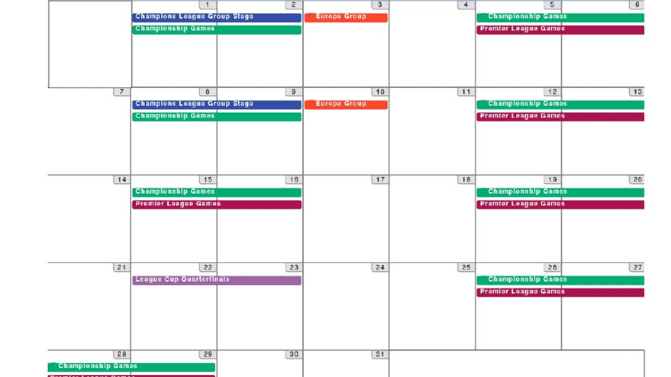 football schedule calendar