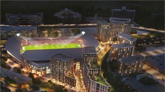 brentford community stadium nighttime aerial view