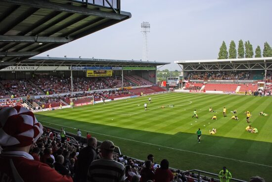 view of soccer pitch from stands at Wrexham AFC Racecourse Ground