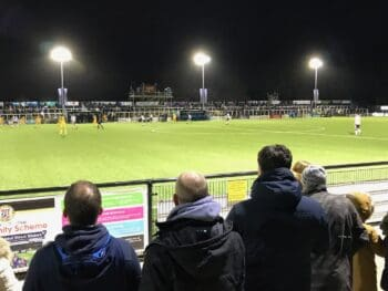 spectators watching game at bromley non-league football stadium
