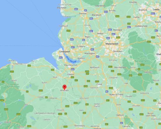 map showing location of Wrexham Wales UK