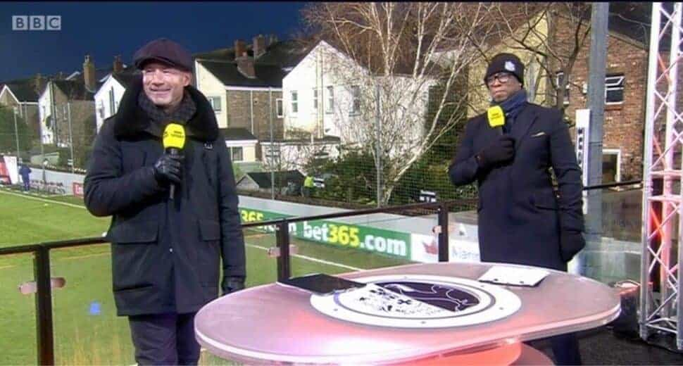 BBC narrators Alan Shearer Ian Wright Marine Tottenham FA Cup