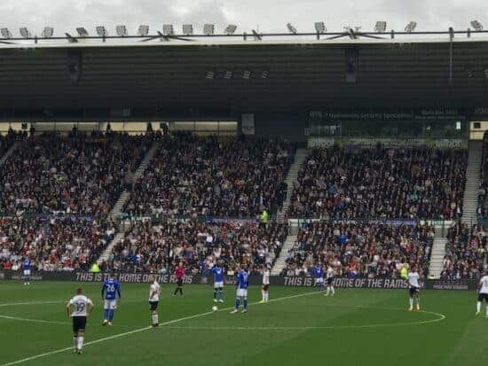 kickoff at pride park, home of derby county football club