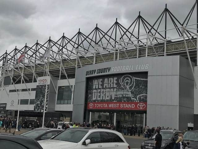 exterior of derby county's stadium, pride park