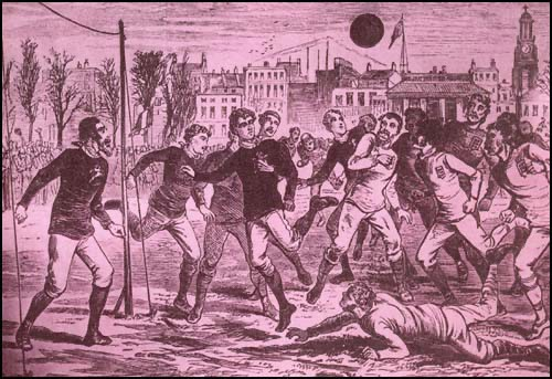 world soccer history old drawing of football in England