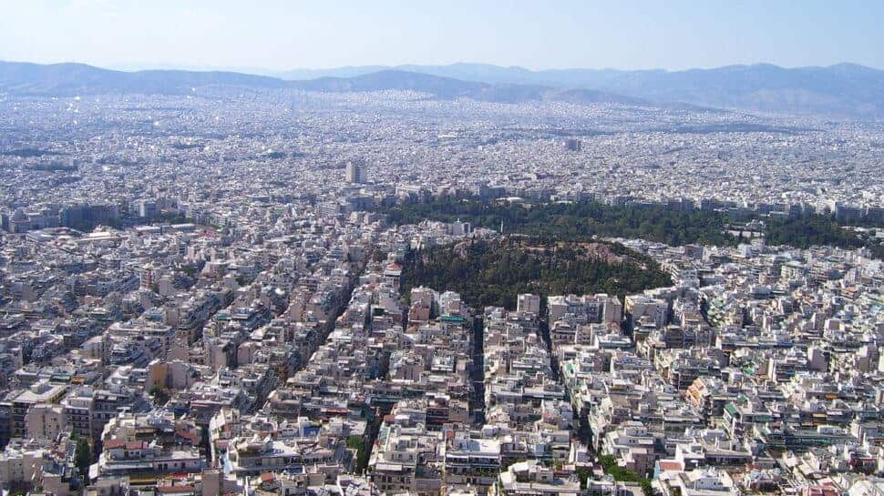 aerial view Athens Greece site of europa league games