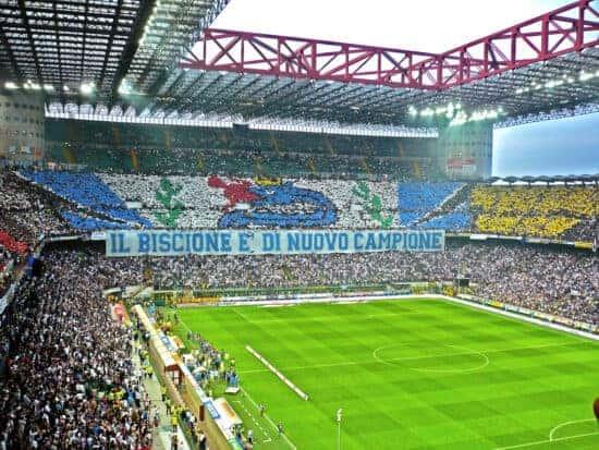 A fan display at San Siro Stadium, home of AC Milan.