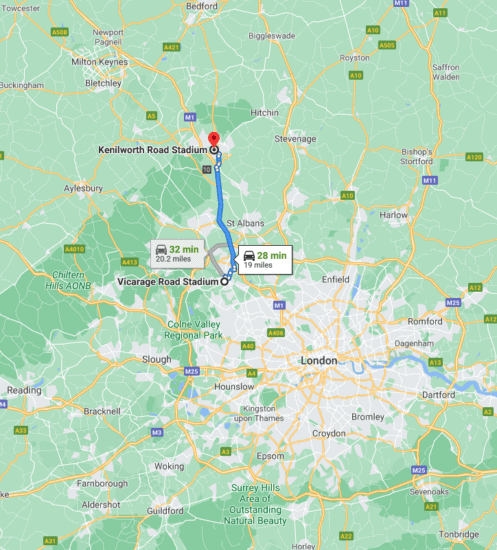 Watford vs Luton Town rivalry map showing distance between stadiums