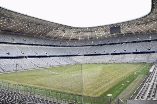 View of Euro 2020 venue Allianz Arena from the stands
