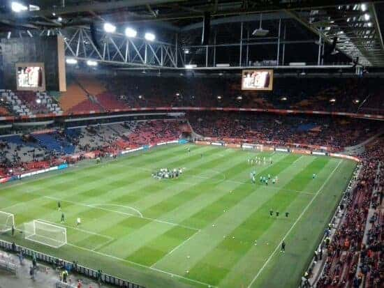 View of Euro 2020 venue Johan Cruyff Arena from the stands