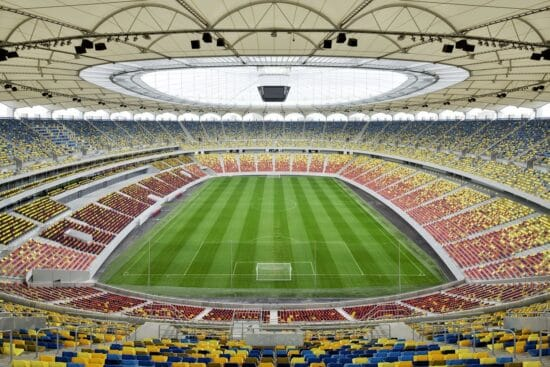 View of Euro 2020 venue National Arena from the stands