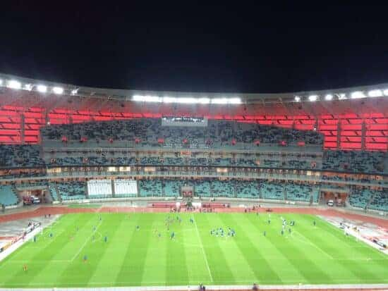 View of Euro 2020 venue Baku Olympic Stadium from the stands