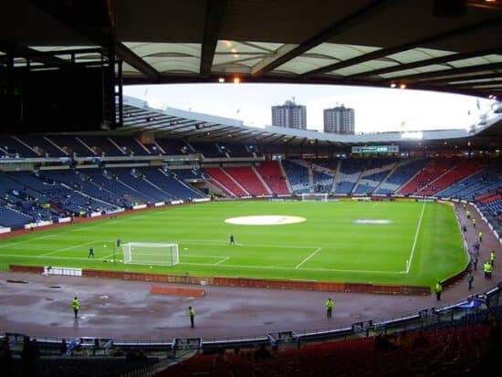 View of Euro 2020 venue Hampden Park from the stands